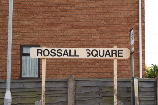 Blackpool Tramway sign at Rossall Square