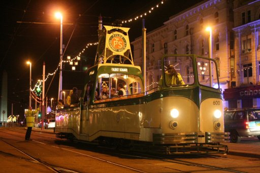 Blackpool Tramway tram 600 at North Pier stop