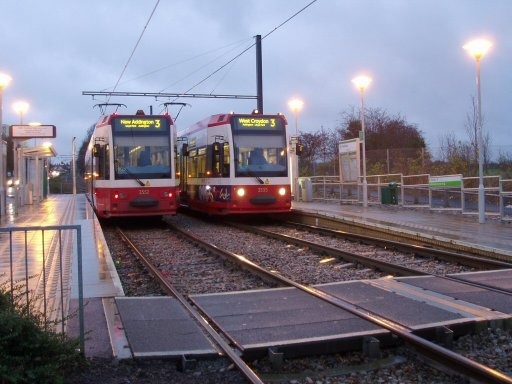 Croydon Tramlink tram night at Fieldway stop