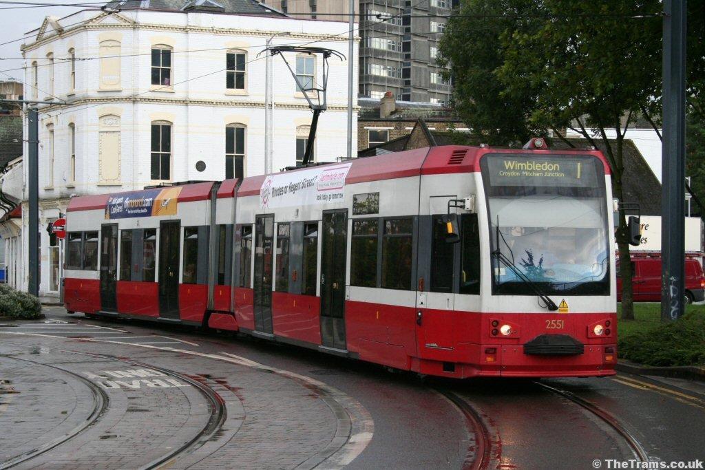 Croydon Tramlink tram 2551 at Reeves Corner