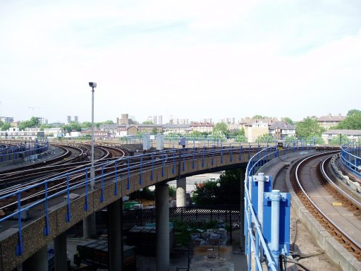 Docklands Light Railway Lewisham route at West India Quay delta junction
