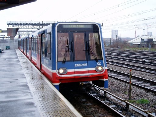 Docklands Light Railway unit 32 at Pudding Mill Lane station
