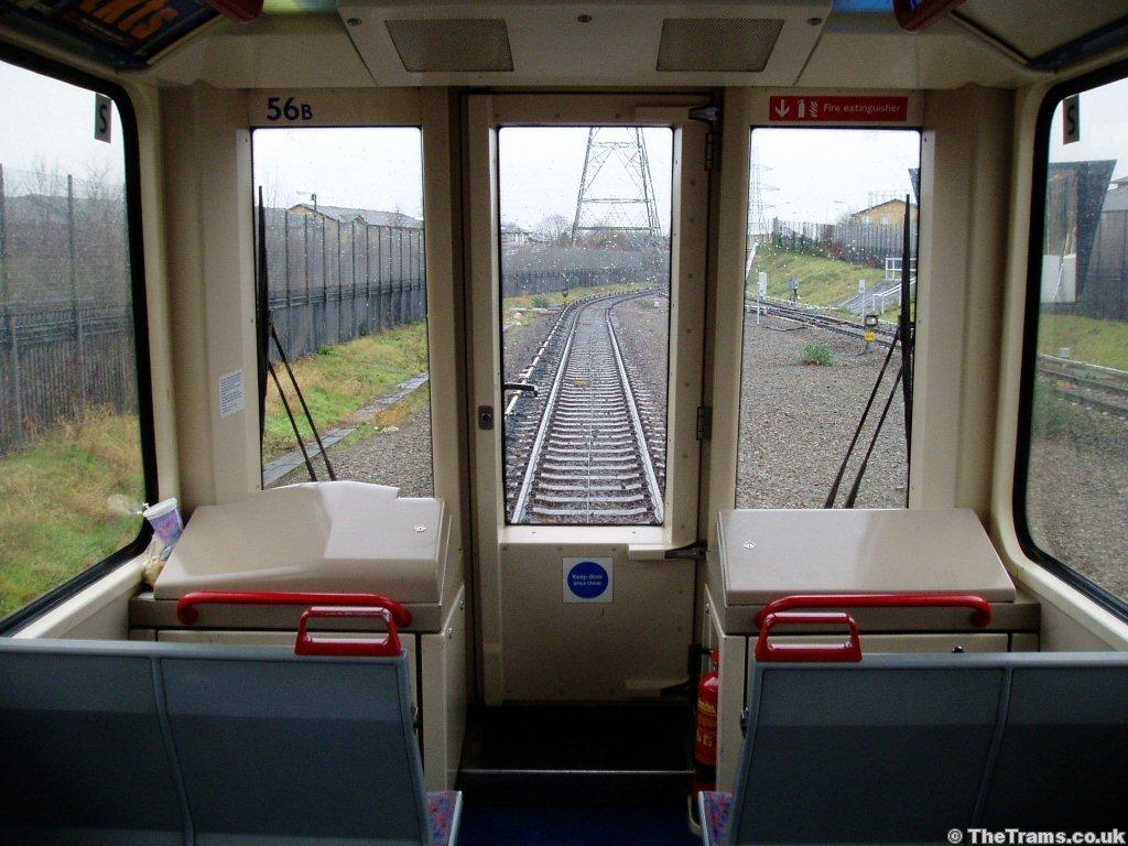 picture of docklands light railway unit train interior at beckton station. Black Bedroom Furniture Sets. Home Design Ideas