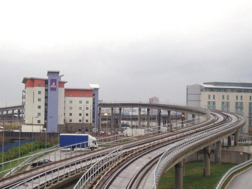 Docklands Light Railway Beckton route at Prince Regent