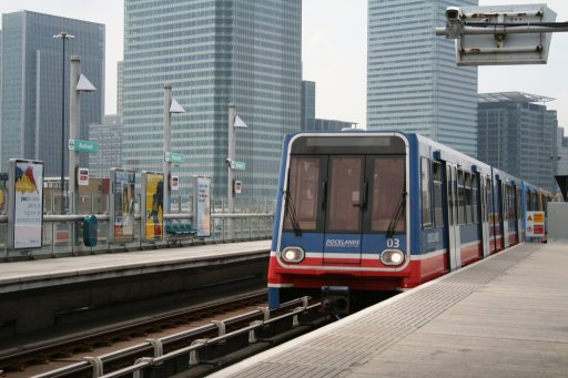 Docklands Light Railway unit 03 at Blackwall station