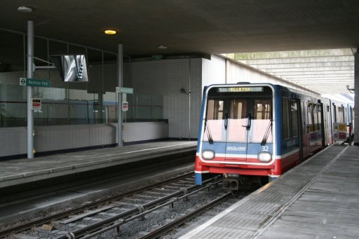 Docklands Light Railway unit 32 at Beckton Park station