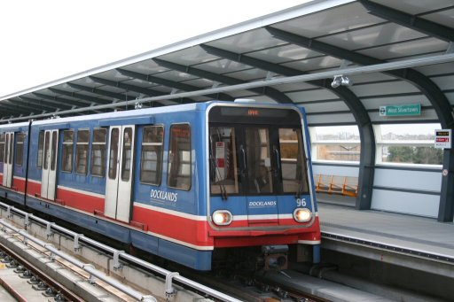 Docklands Light Railway unit 96 at West Silvertown station
