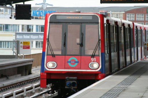 Docklands Light Railway unit 91 at West Silvertown station