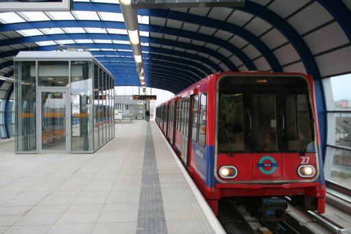 Docklands Light Railway unit 27 at London City Airport station