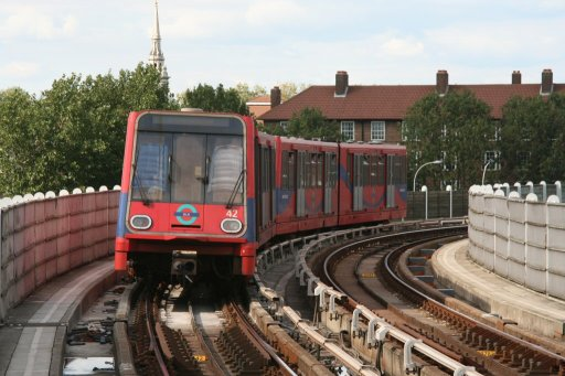 Docklands Light Railway unit 42 at Deptford Bridge