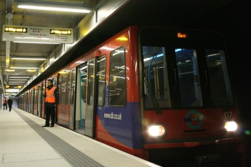 Docklands Light Railway unit 07 at Woolwich Arsenal