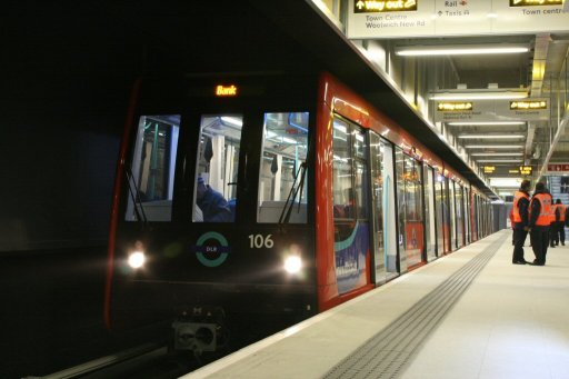 Docklands Light Railway unit 106 at Woolwich Arsenal station