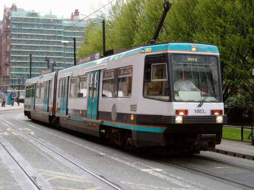 Metrolink tram 1003 at Mosley St.