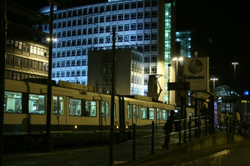 Metrolink tram night at St. Peter's Square stop