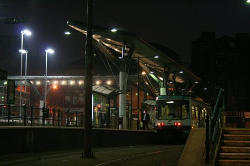 Metrolink tram dawn at Shudehill stop
