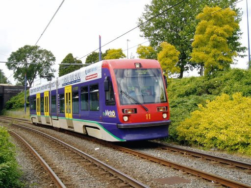 Midland Metro tram 11 at West Bromwich Central stop