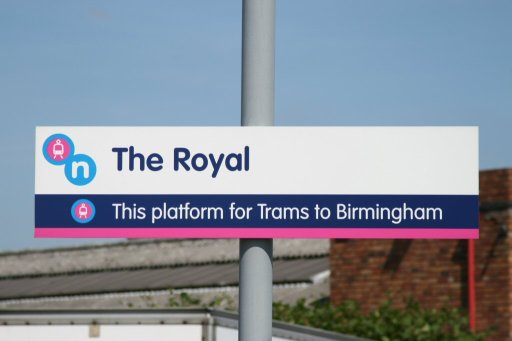 Midland Metro sign at The Royal stop