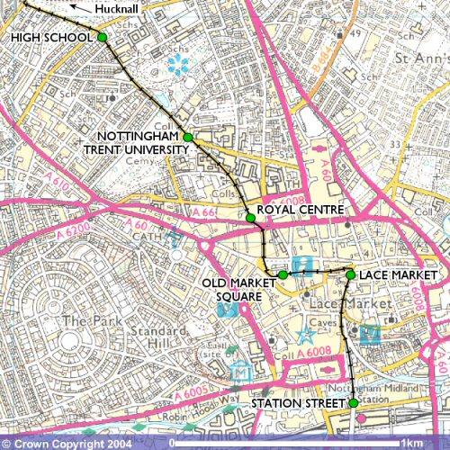 city centre map Routes Nottingham Express Transit TheTramscouk