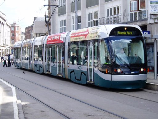 Nottingham Express Transit tram 211 at Old Market Square stop