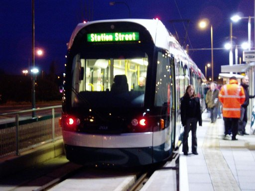 Nottingham Express Transit tram First day at Phoenix Park stop