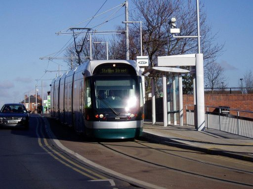 Nottingham Express Transit tram First day at Hyson Green Market stop