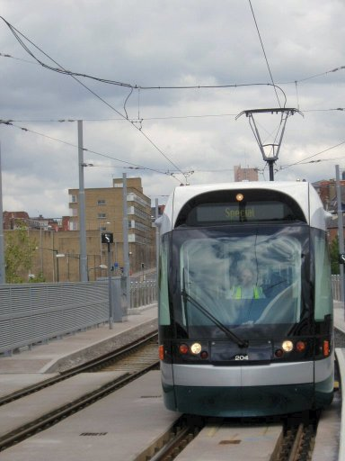 Nottingham Express Transit tram TLRS tour at Station Street stop