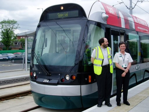 Nottingham Express Transit tram TLRS tour at Hucknall stop