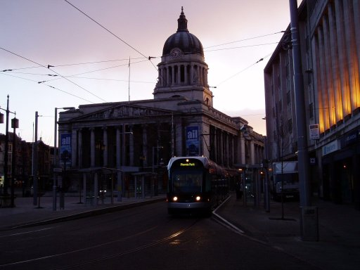 Nottingham Express Transit tram stop at Old Market Square