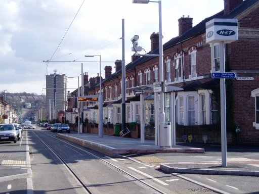 Nottingham Express Transit tram stop at Beaconsfield Street