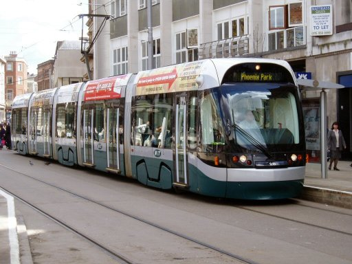 Nottingham Express Transit tram trams at Old Market Square stop