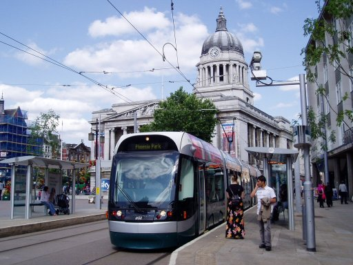 Nottingham Express Transit tram 202 at Old Market Square stop