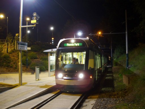 Nottingham Express Transit tram night at Cinderhill stop