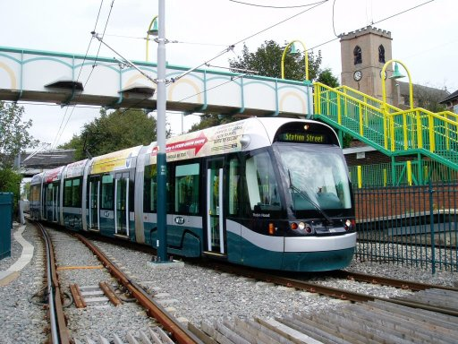 Nottingham Express Transit tram 211 at Bulwell stop