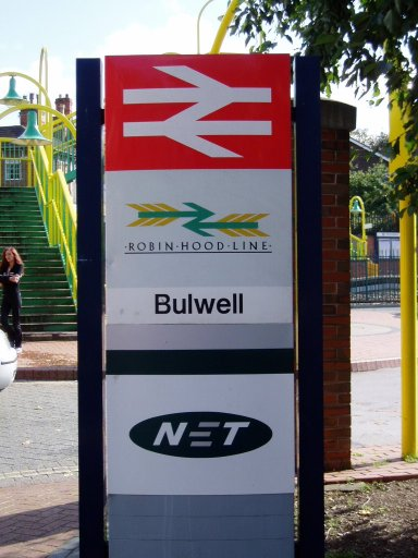 Nottingham Express Transit sign at Bulwell stop