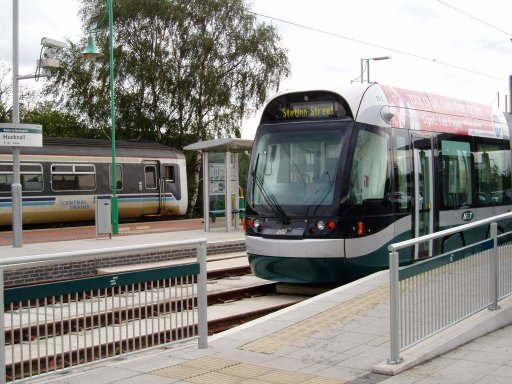 Nottingham Express Transit tram 202 at Hucknall stop