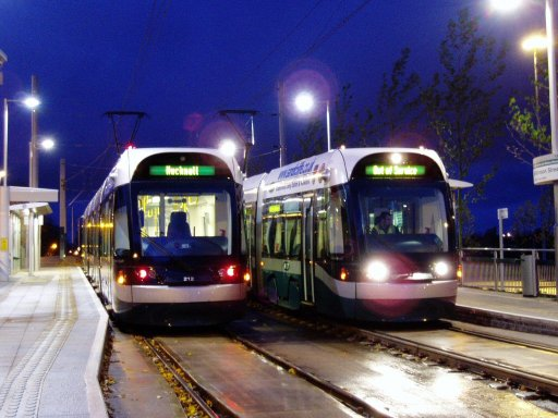 Nottingham Express Transit tram dawn at Wilkinson Street stop
