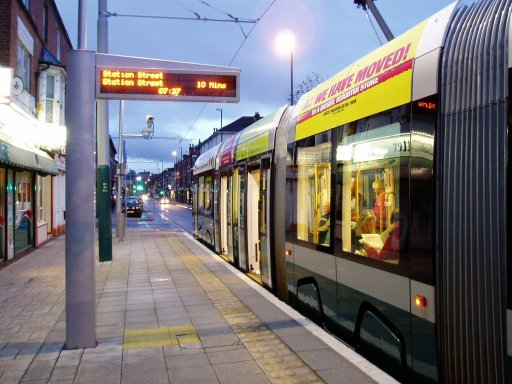 Nottingham Express Transit tram dawn at Radford Road stop