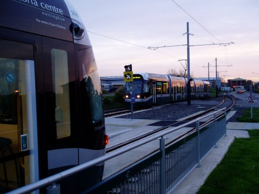 Nottingham Express Transit tram dawn at Phoenix Park stop