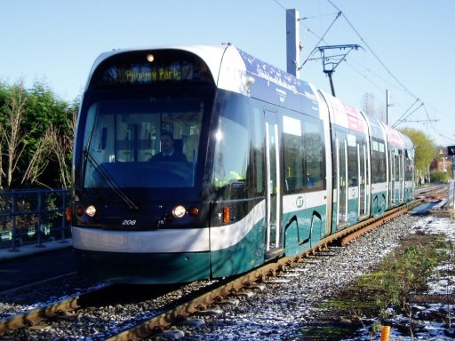 Nottingham Express Transit tram 208 at Highbury Vale
