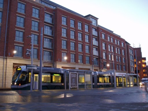 Nottingham Express Transit tram dawn at Lace Market stop