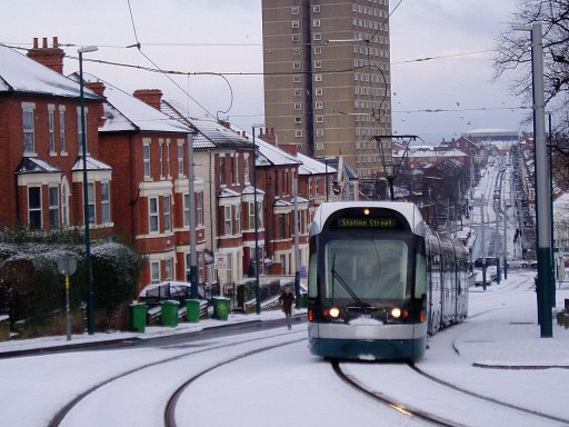 Nottingham Express Transit tram 207 at The Forest