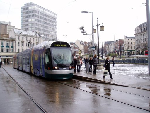 Nottingham Express Transit tram 209 at Old Market Square stop