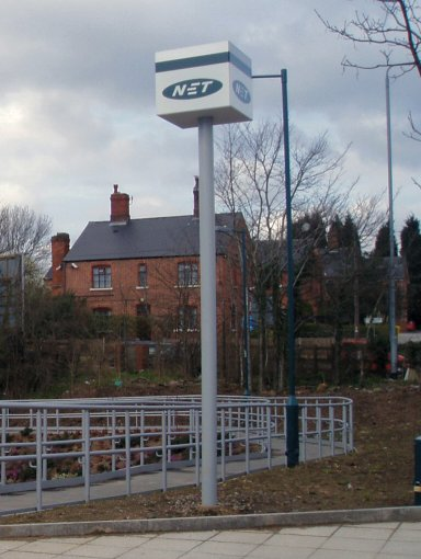 Nottingham Express Transit sign at Cinderhill stop