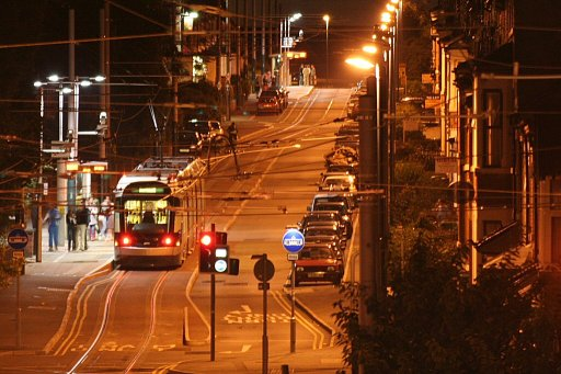 Nottingham Express Transit tram night at Noel Street