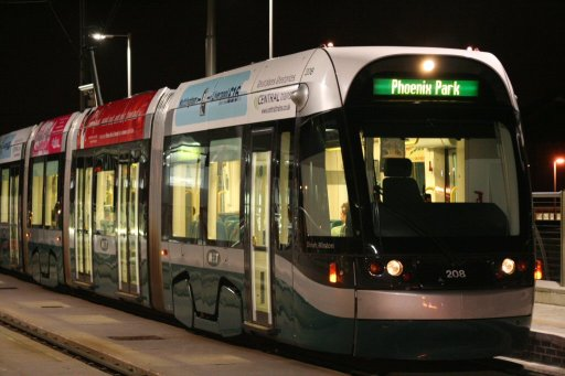 Nottingham Express Transit tram 208 at Station Street stop