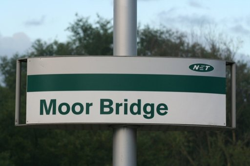 Nottingham Express Transit sign at Moor Bridge stop