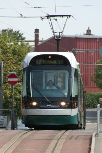 Nottingham Express Transit tram 206 at between Shipstone Street and Wilkinson Street