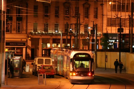 Nottingham Express Transit tram night at Old Market Square
