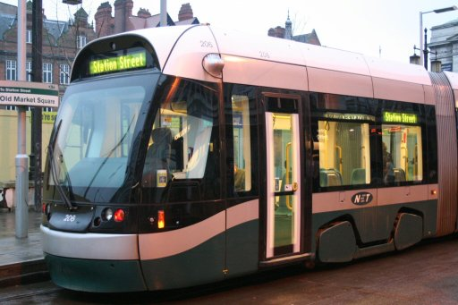 Nottingham Express Transit tram 206 at Old Market Square stop