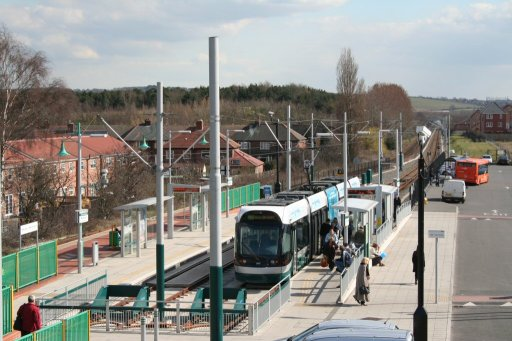 Nottingham Express Transit tram stop at Hucknall